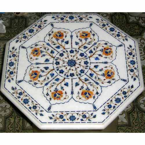 White Marble Inlay Table Tops ...
