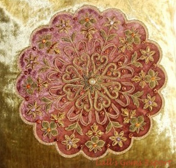 Buy Zari Embroidered Cushion Cover
