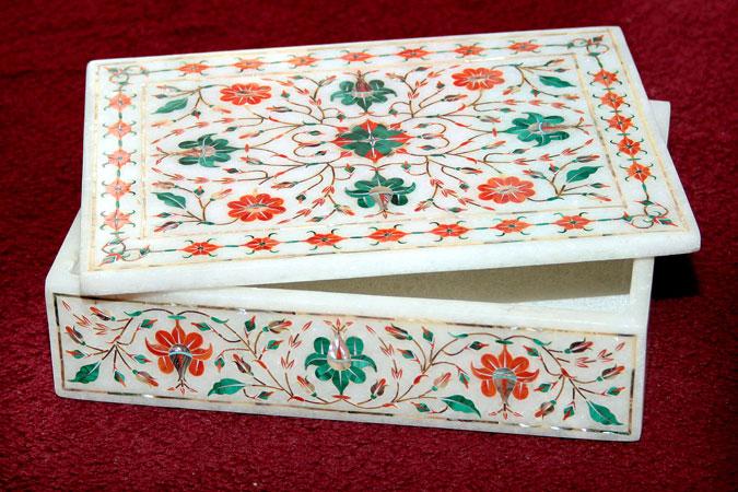 Buy White marble rectangular box
