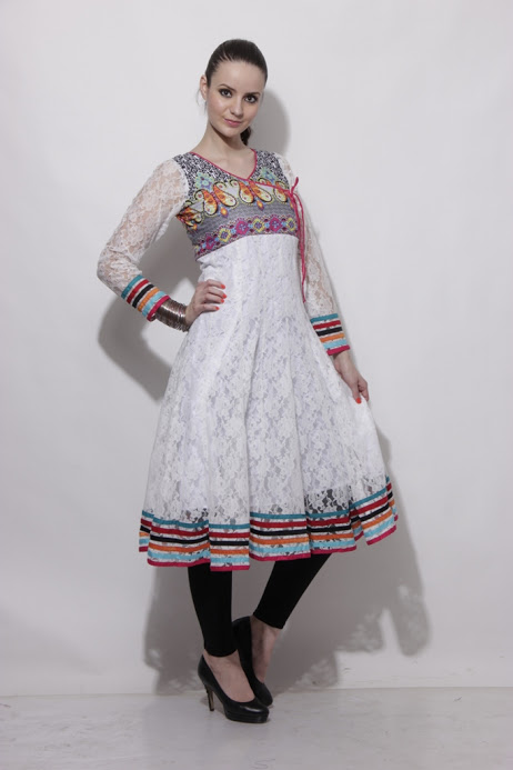 Buy White and Pink Netted Anarkali Kurta