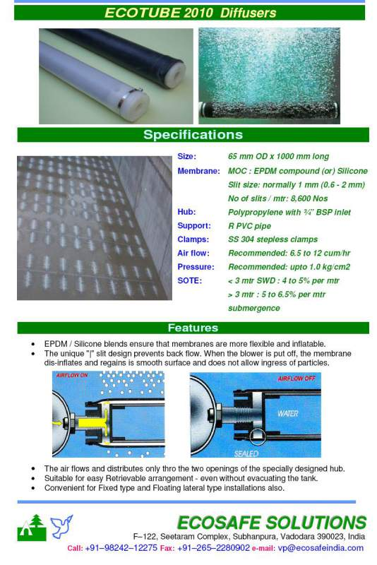 Buy High Efficiency Fine Bubble EPDM membrane Tube Diffusers for aeration of wastewater, aquaculture ponds and lakes
