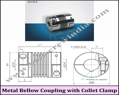 Buy Metal Bellow Coupling With Collet Clamp (KB2 / 1 to 100)