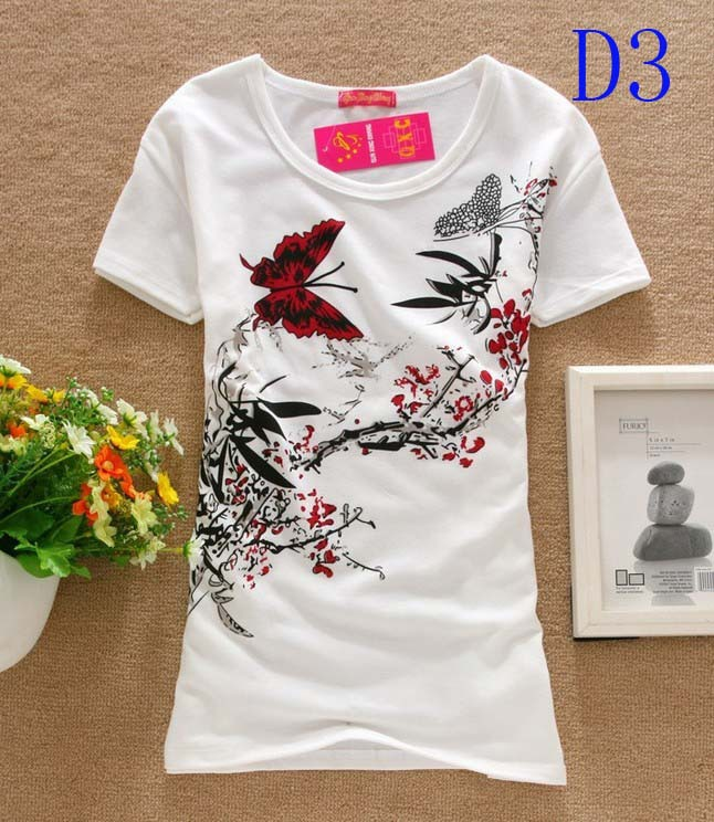 Buy Women Butterfly Tops Round T-shirts