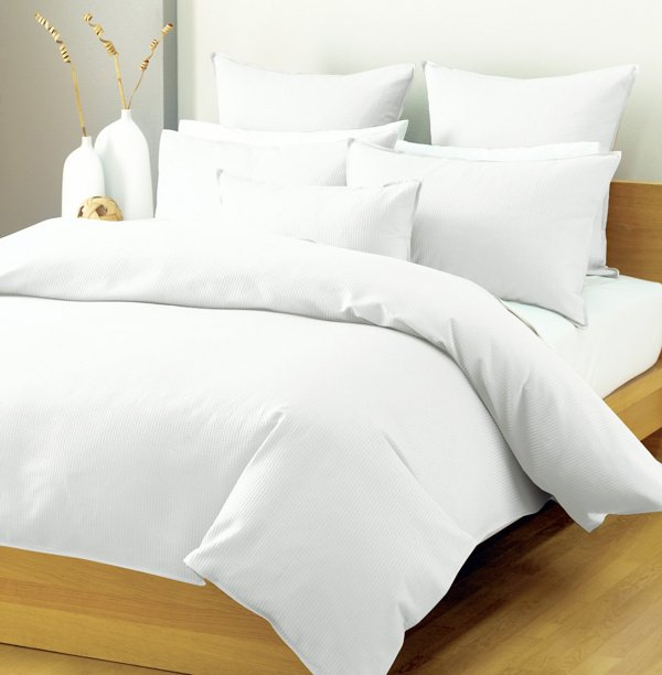 Buy High quality satin stripe plain white pastel colur cotton bedsheets and pillowcovers