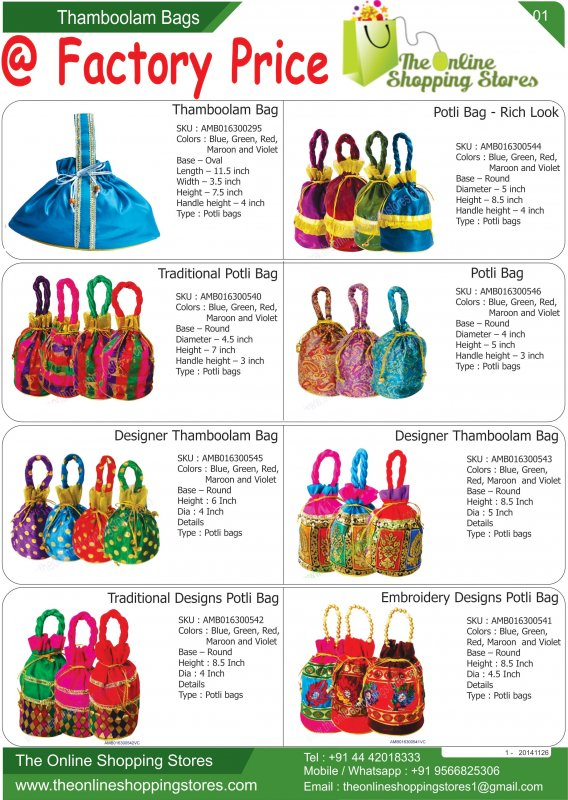 Wedding Return Gift Bags Buy In Chennai