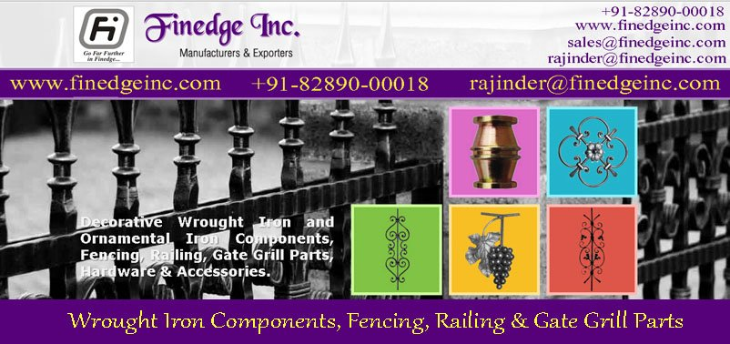 Buy Decorative wrought iron and ornamental iron components, fencing, railing, gate grill parts, hardware & accessories manufacturers exporters in India uk, usa, dubai, germany, italy