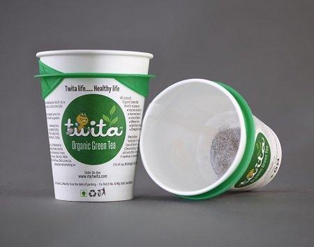 Buy Organic green tea cup & Tea stick