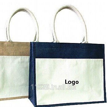 Jute bag with cotton pocket