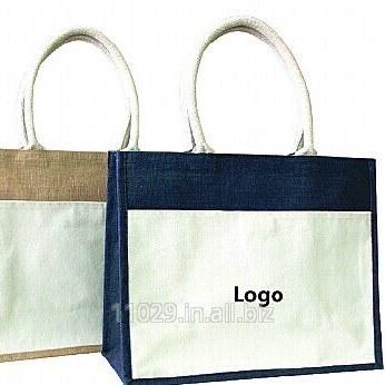 Jute bag with cotton pocket