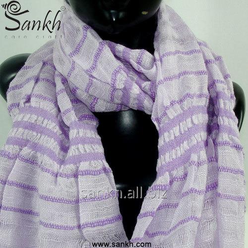 Light Purple Ruched Viscose Scarf