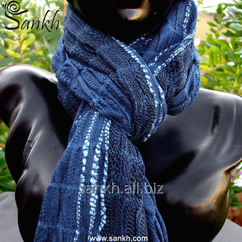 Blue Neck Wrap Ruched Scarf