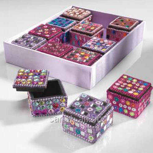 Square Sequin & Glitter Trinkets Box In Assorted Designs