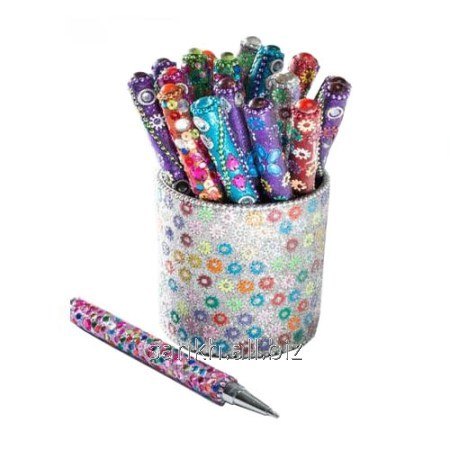 Sequin & Gems Pens With Pen Pot (Set of 20) Pen holder with lac work