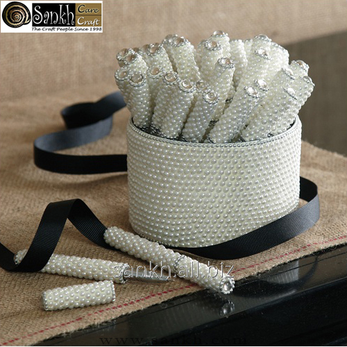 Pearly Pen set of 30pc with pearl decorated holder