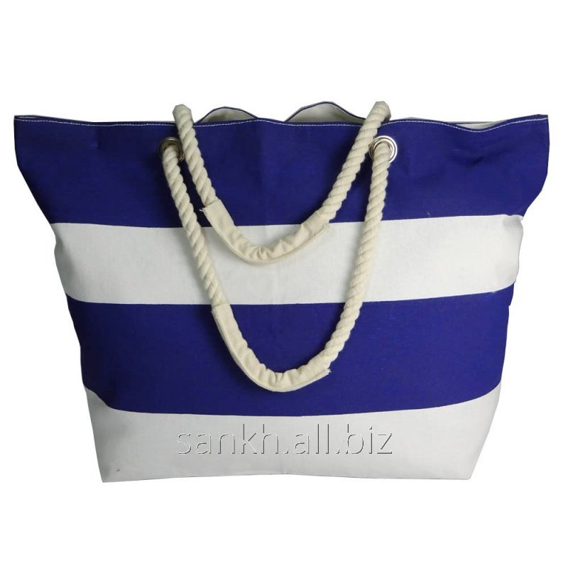 White & Blue strip print Beautiful Beach Shoulder Tote Bag