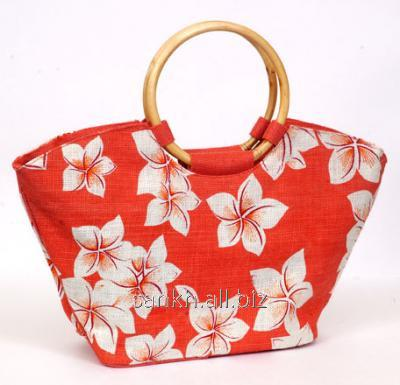 Orange color Boat shape beach Bag with round cane handle