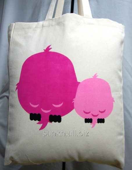 Cotton canvas bags with owl love print