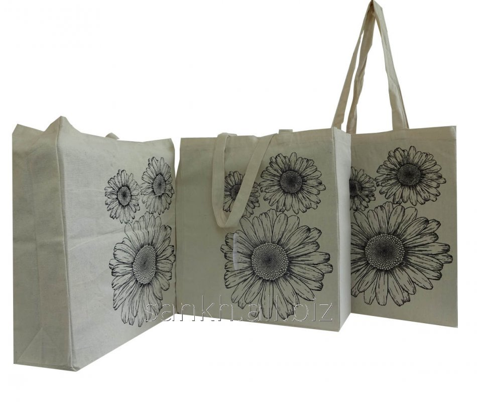 Cotton canvas bags with Daisy flower print