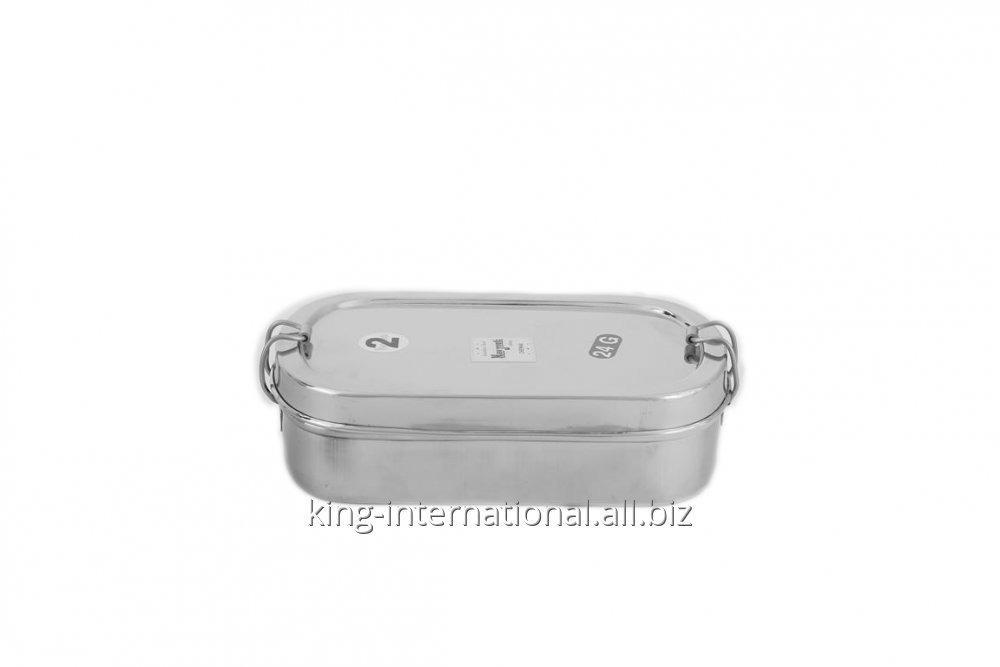 Stainless steel square lunch box with plate and lock