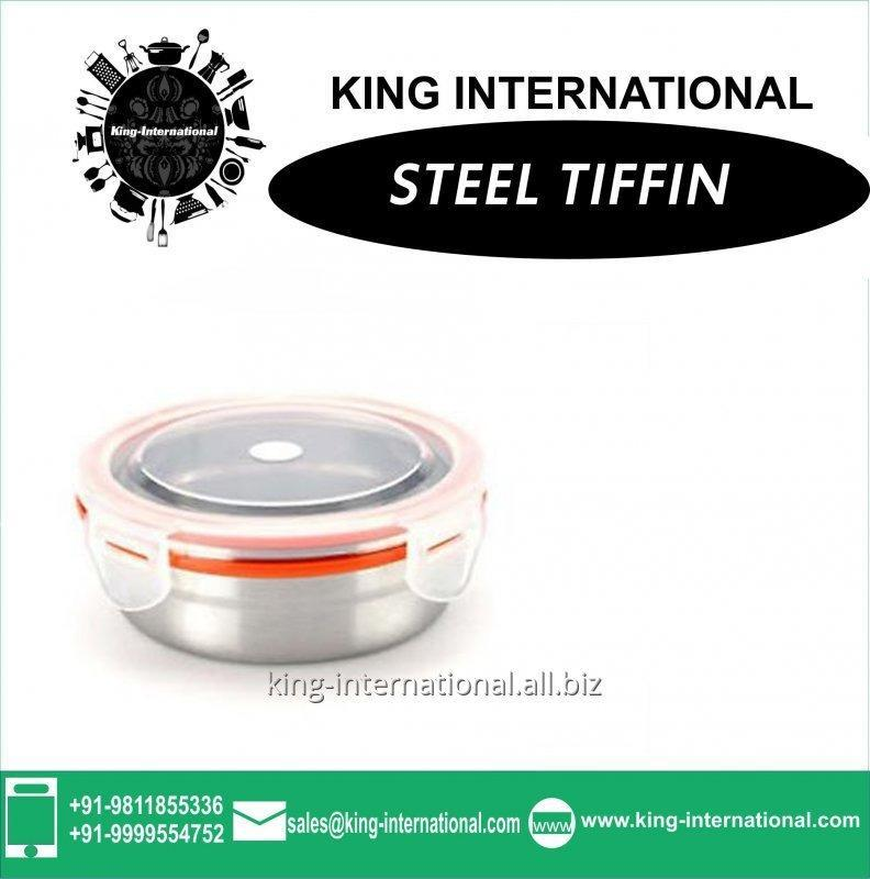Air tight steel food box- leak proof available with bag of your brand name.