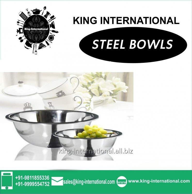 Round Steel coloured Bowls Set of 2 pcs