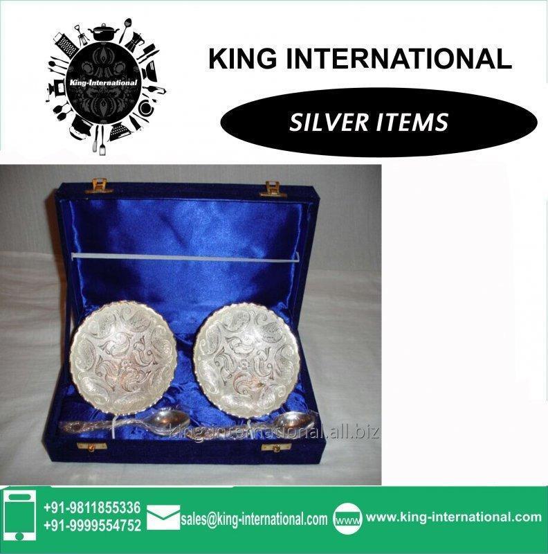 Buy Brass White Bowls Set of 2 With 2 spoons in Blue Velvet Box