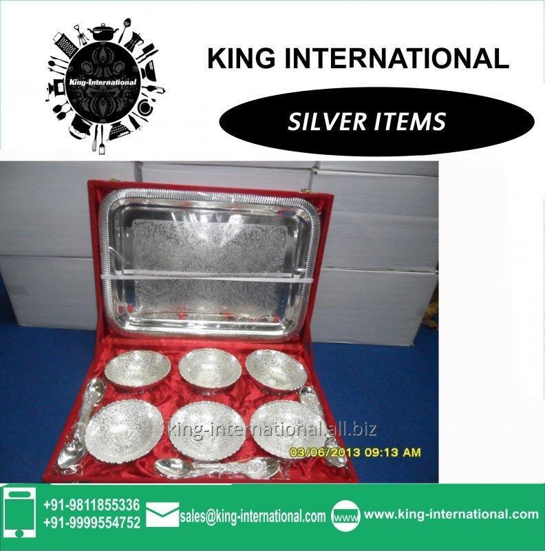 Buy Brass Silver Bowls Set of 6 pcs With spoons & Tray in Red Velvet Box