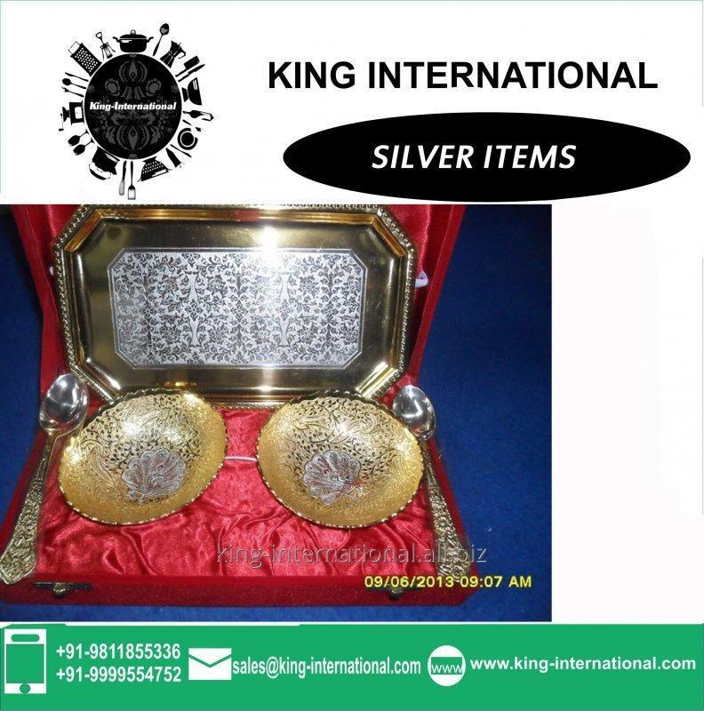 Buy Brass Golden& Silver Bowls Set of 2 pcs With 2 spoons & 1 Tray in Red Velvet Box