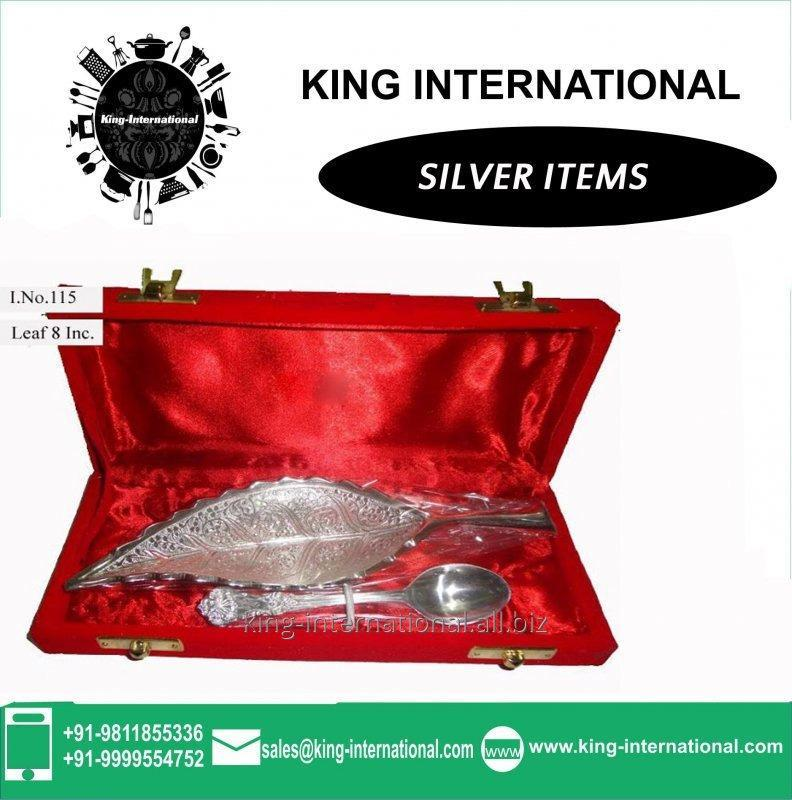 Buy Brass Silver Leaf Shaped Bowl Set of 1 pc With 1 spoons in Red Velvet Box