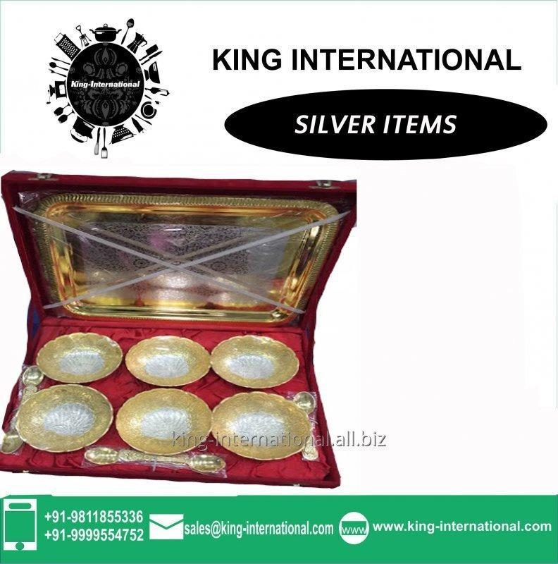 Buy Brass Golden & Silver Bowls Set of 6 pcs With spoons & Tray in Red Velvet Box