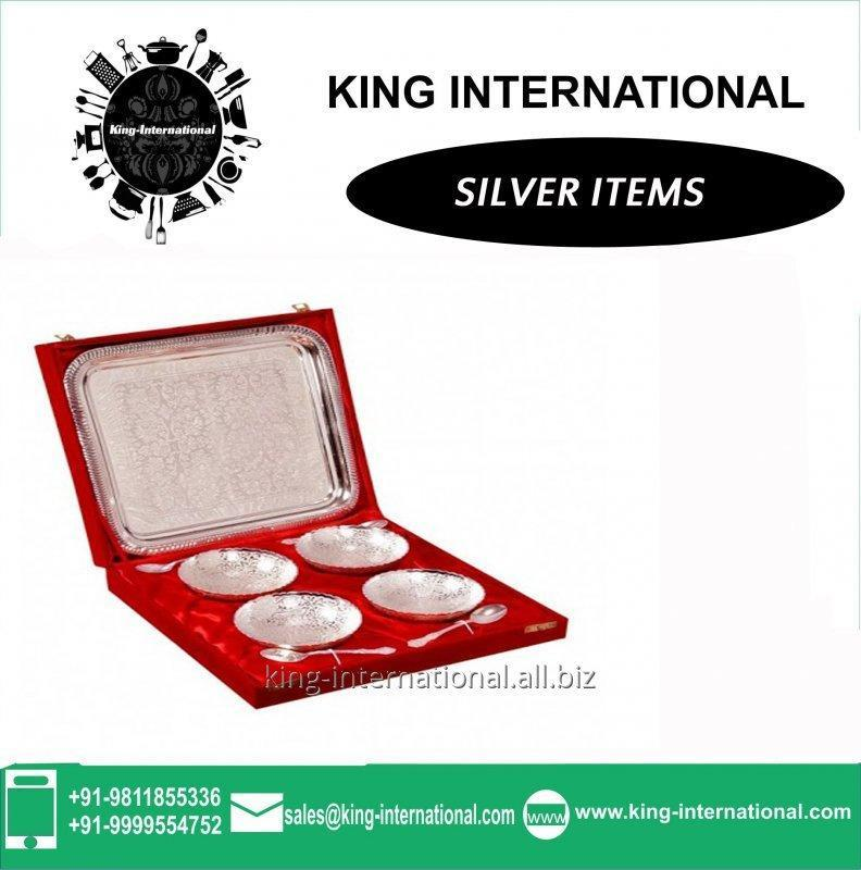 Buy Brass Silver Bowls Set of 4 pcs With spoons & Tray in Red Velvet Box