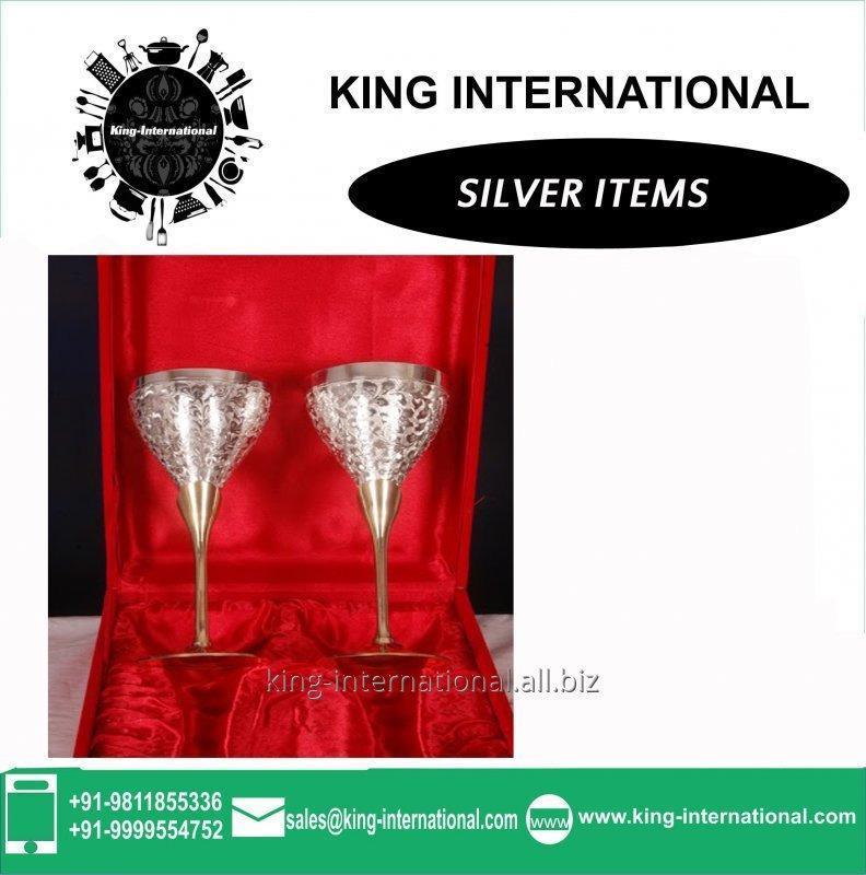 Buy Brass Silver Wine Glasses Set of 2 pcs