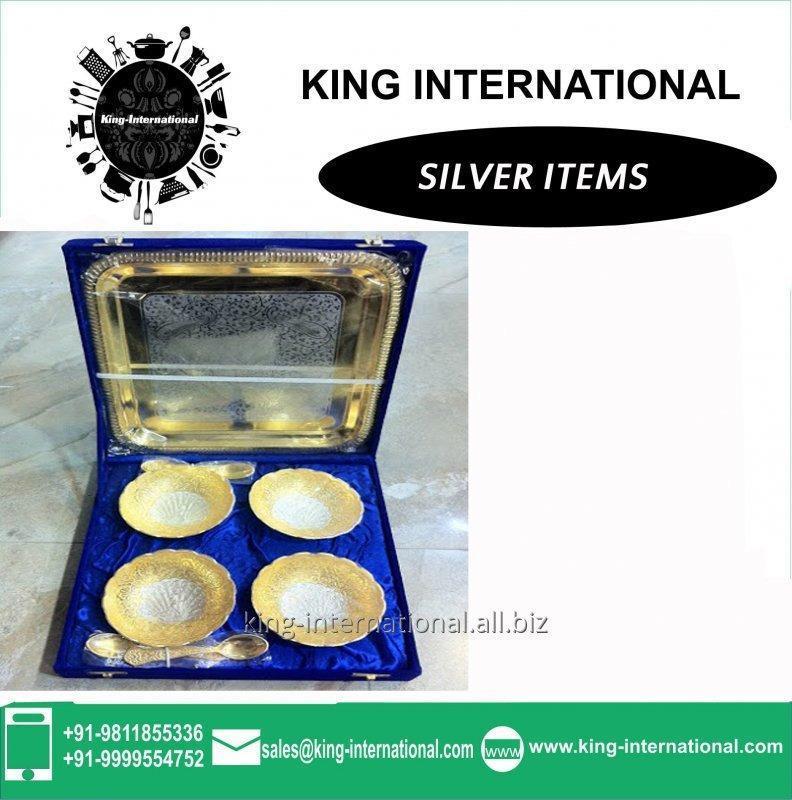 Buy Brass Golden Katori/Bowl Set of 4 pcs With spoons & Tray in Blue Velvet Box