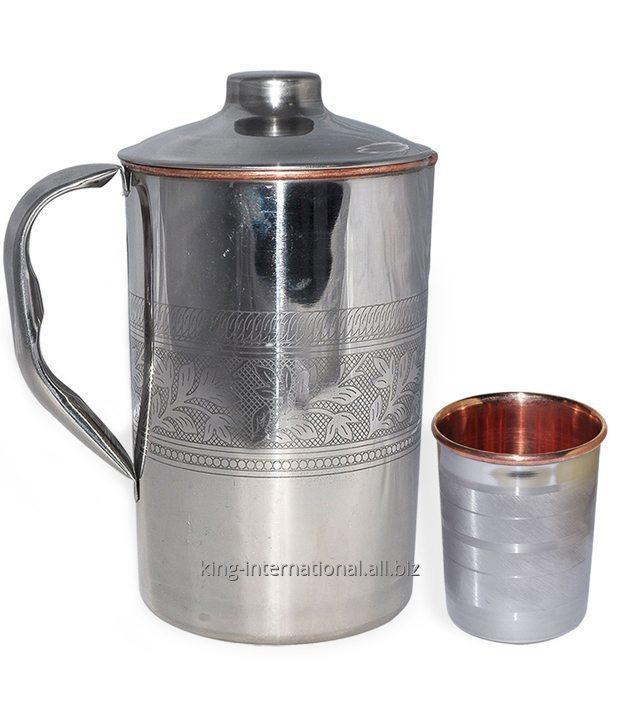 Buy Decorative Drinking Glass Copper jug with ice catcher With Lid