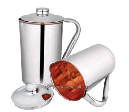 Buy Copper jug with ice catcher with double wall Copper body