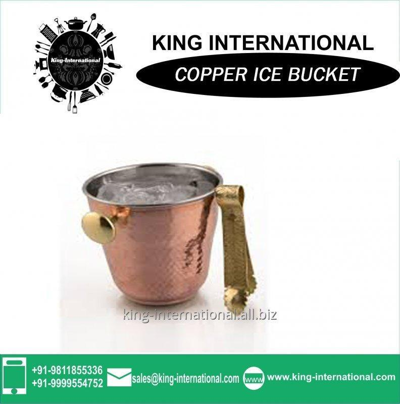 Buy Copper ice beer bucket for bar Round Shape