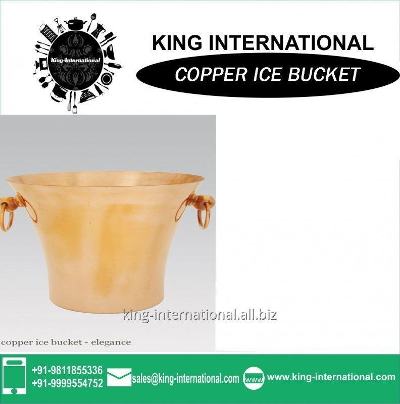 Buy Copper ice bucket with tongs