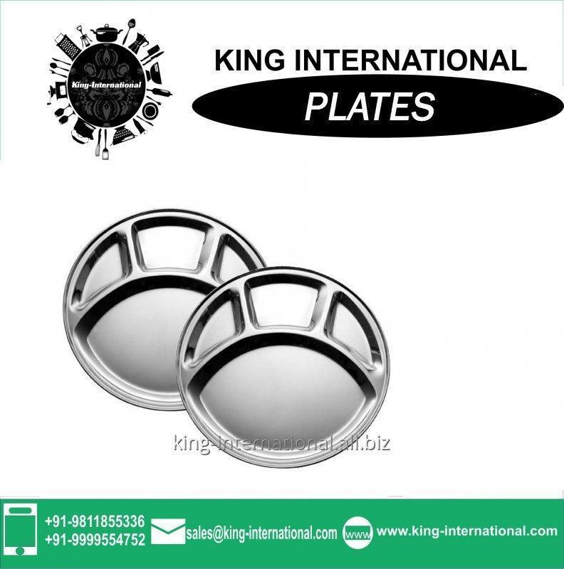 Buy Dinner Set Round Shape Stainless Steel Metal Plate