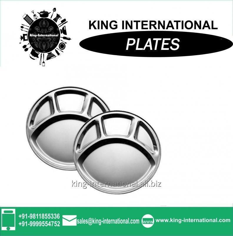 Buy Stainless Steel Round Mess Fast Food Tray With Four Section