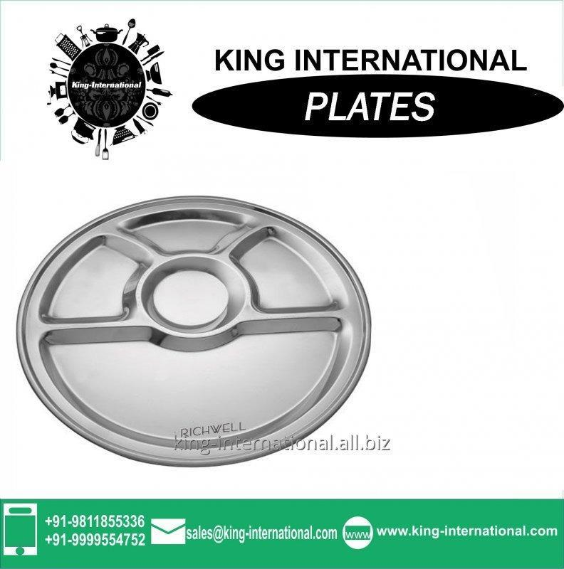 Buy High quality stainless steel divided dinner plate