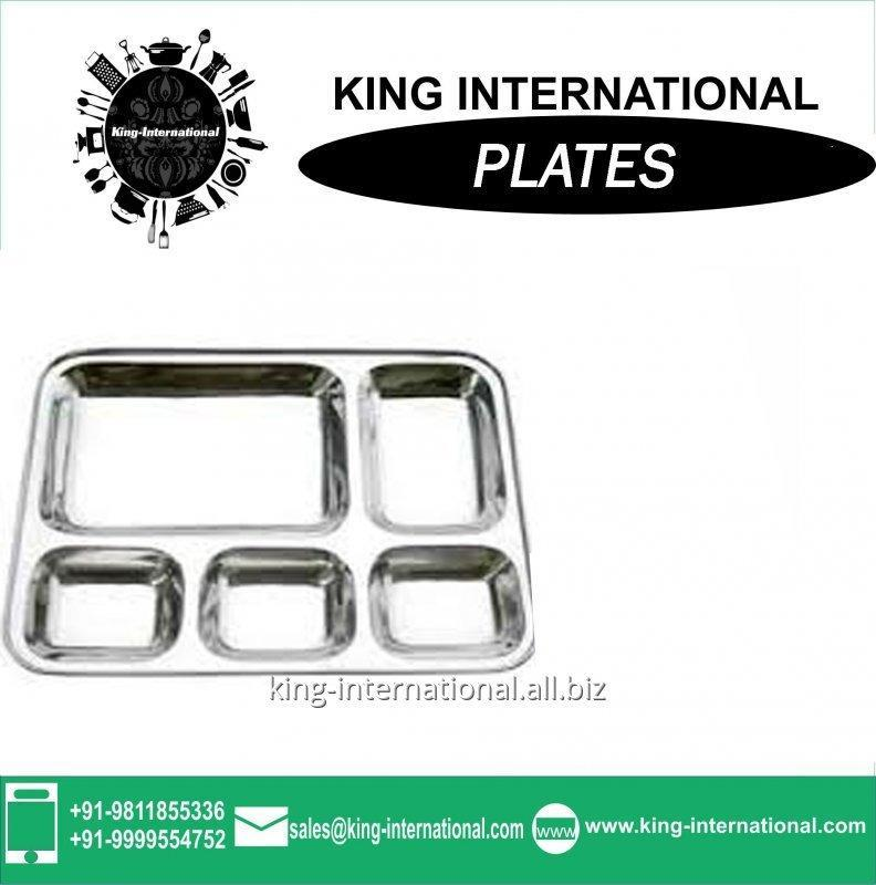 Buy Stainless steel 5 compartment dinner plate/mess tray