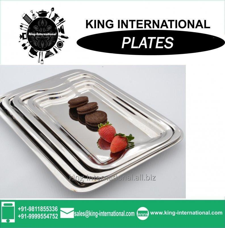 Buy Round stainless steel food serving tray