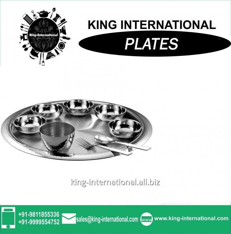 Buy Round Restaurant Stainless Steel Bridal Mess / Steak Plate