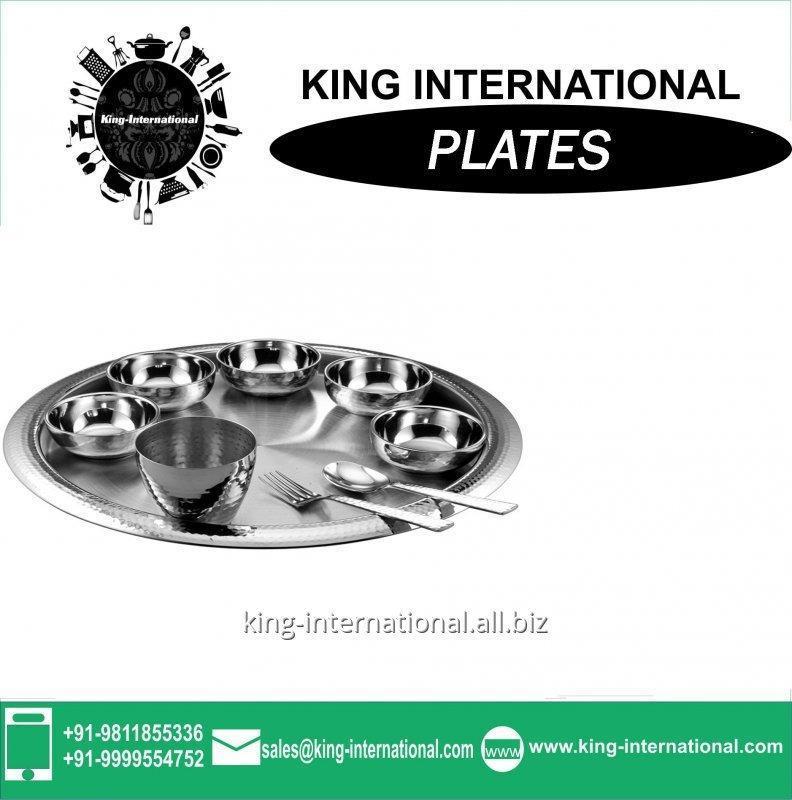 Buy Round Restaurant Stainless Steel Bridal Mess / Steak Plate