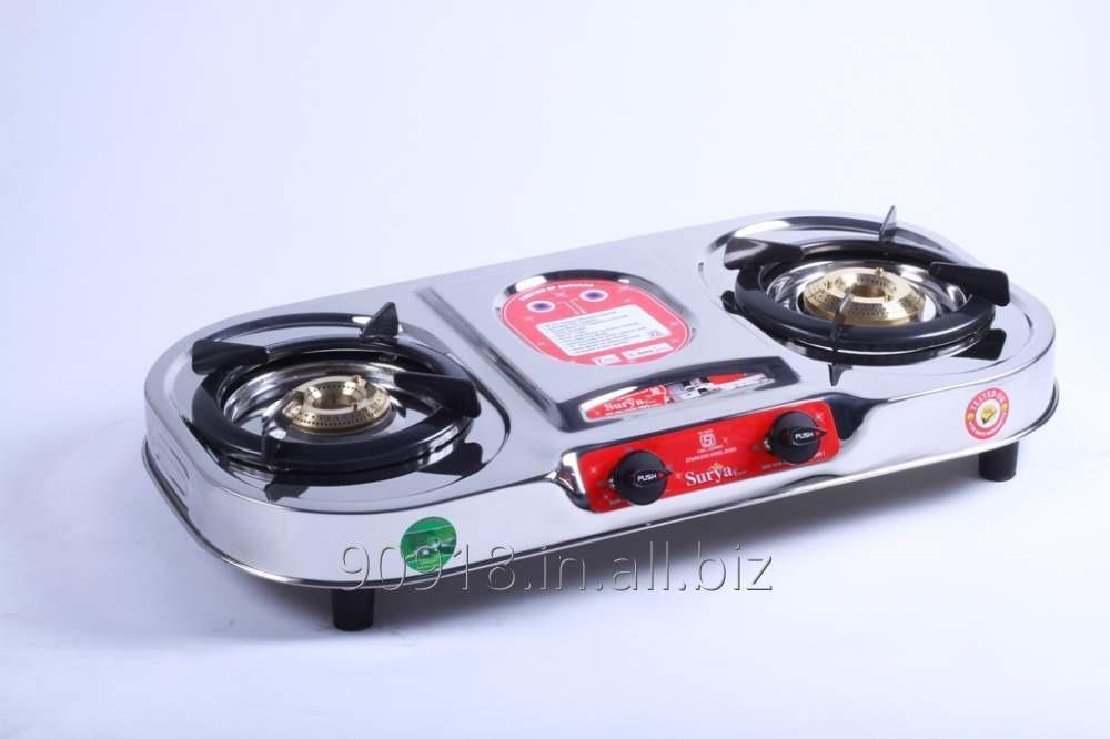 Buy 2 Burner stove Stainless Steel Gas Stove Oval Shape