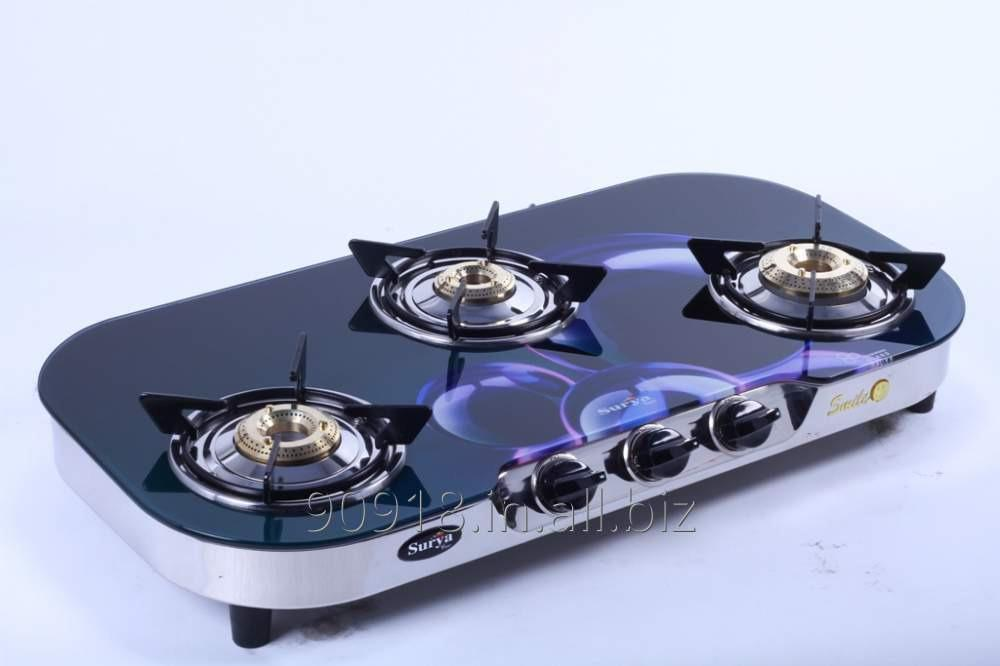 Buy 3 Burner stove Glass Top Gas Stove Oval Shape