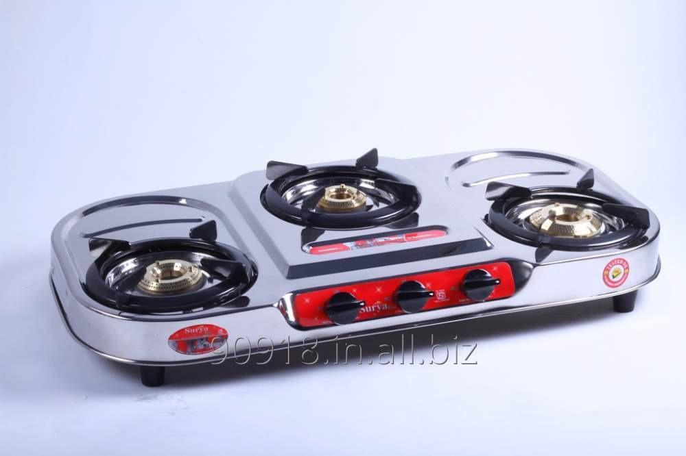 Buy 3 Burner stove Stainless Steel Gas Stove Oval Shape