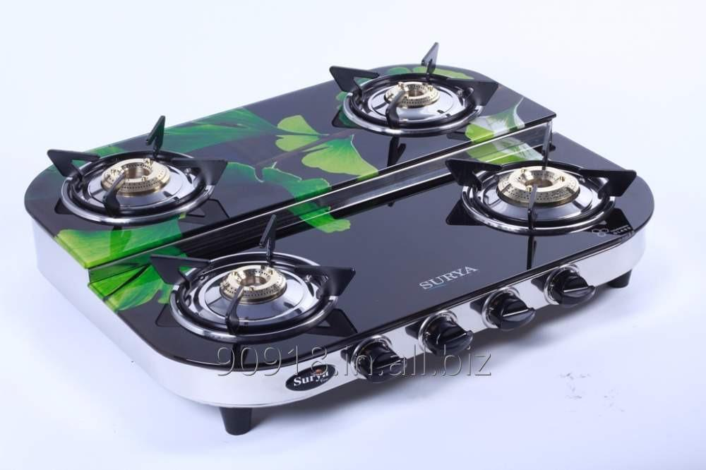 Buy 4 Burner stove Glass Top Gas Stove Double Deck Round Shape
