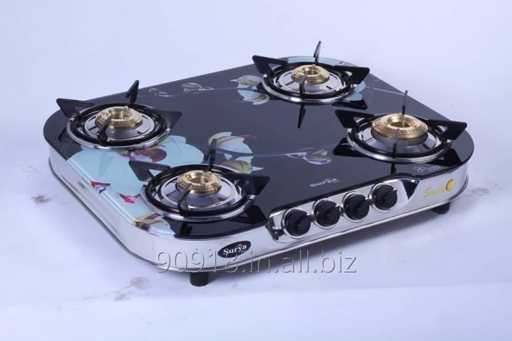 Buy 4 Burner stove Glass Top Gas Stove Round Shape