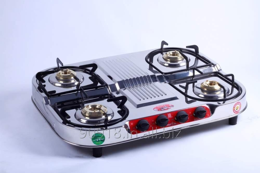 Buy 4 Burner stove Stainless Steel Gas Stove Double Deck Oval Shape